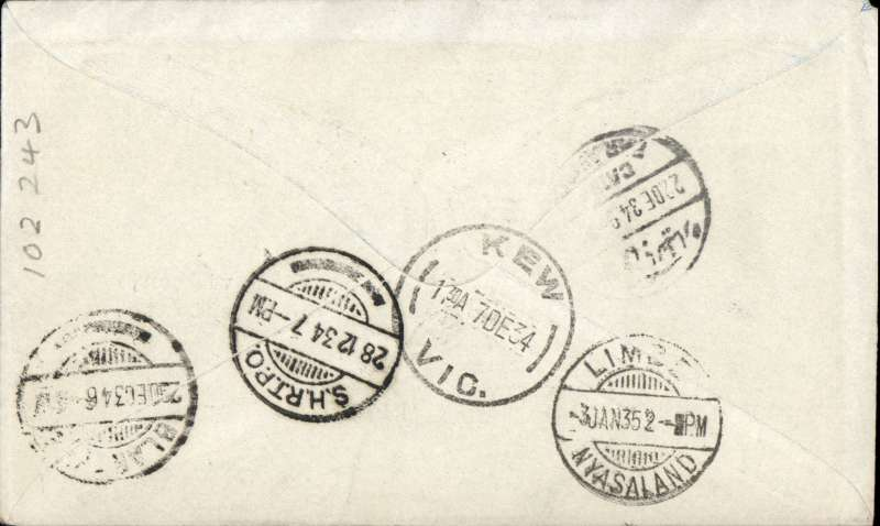 (Australia) First acceptance of mail for Southern Rhodesia, Kew to Blantyre, bs 29/12, via Cairo 22/12, and the Shire Highlands Railway Company Travelling Ost Office (SHRTPO) 28/12, carried on first regular Imperial Airways/Qantas Australia-England service, souvenir blue/light grey 'Kangaroo' company cover, franked 5d, 1/6d 1931 6d air (SG139), canc 'Kew/7 Dec/Vic' cds. Carried from Cairo to Broken Hill on IAW flight ASS 199, This  service carried mail for Africa flown on Imperial Airways first return Brisbane-Singapore extension of the Eastern route. See Wingent p65. Only 463 items were flown from Australia to all points other than London, viz to the Far East, Middle East, the Med, Europe and Africa. Super routng and scarce TPO. A nice one for the exhibit.