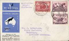 (Australia) First acceptance of mail for Africa, Sydney to Bulawayo, Southern Rhodesia, bs 27/12, via Cairo 22/12, carried on first regular Imperial Airways/Qantas Australia-England service, souvenir blue/light grey 'Kangaroo' company cover, franked 1/6d, 2d, and 9d (SG 152 Cat £45 used), canc 'Sydney/12 Dec/Air Mail' cds. Carried from Cairo to Bulawayo on IAW flight ASS 199, This  service carried mail for Africa flown on Imperial Airways first return Brisbane-Singapore extension of the Eastern route. See Wingent p65. Only 463 items were flown from Australia to all points other than London, viz to the Far East, Middle East, the Med, Europe and Africa.