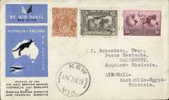 (Australia) First acceptance of mail for Africa, Kew to Salisbury, Southern Rhodesia, bs 26/12, via Cairo 22/12, carried on first regular Imperial Airways/Qantas Australia-England service, souvenir blue/light grey 'Kangaroo' company cover, franked 5d, 1/6d 1931 6d air (SG139), canc 'Kew/7 Dec/Vic' cds. Carried from Cairo to Salisbury on IAW flight ASS 199, This  service carried mail for Africa flown on Imperial Airways first return Brisbane-Singapore extension of the Eastern route. See Wingent p65. Only 463 items were flown from Australia to all points other than London, viz to the Far East, Middle East, the Med, Europe and Africa.