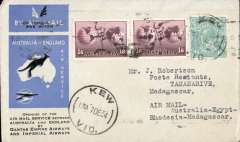 (Australia) First acceptance of mail for Madagascar, Kew to Tananarive, bs 28/12, via Cairo 22/12 and Broken Hill 26/12, carried on the first regular Imperial Airways/Qantas Australia-England service to Broken Hill, then by La Service de la Navigation Aerienne de Madagascar to Tananarive, souvenir blue/light grey 'Kangaroo' company cover, franked 1/4d and 1/6d x2, canc 'Kew/7 Dec/Vic' cds. Carried from Cairo to Broken Hill on IAW flight ASS 199, This  service carried mail for Africa flown on Imperial Airways first return Brisbane-Singapore extension of the Eastern route. See Wingent p65. Only 463 items were flown from Australia to all points other than London, viz to the Far East, Middle East, the Med, Europe and Africa. Great routing.