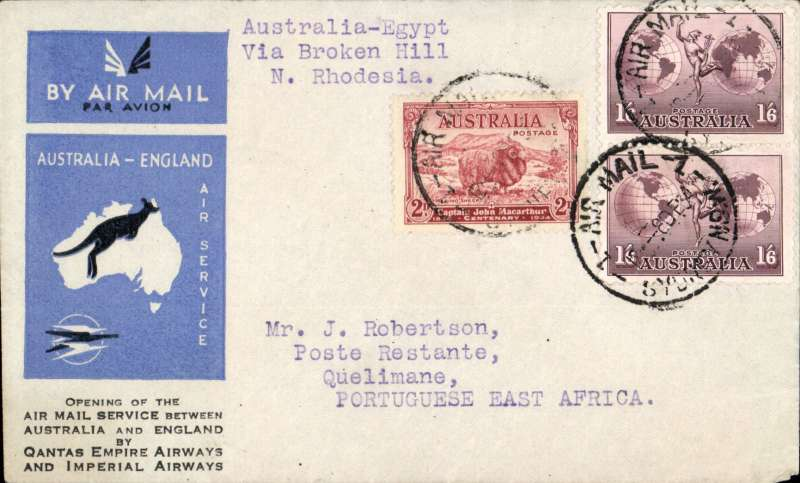 (Australia) First acceptance of mail for Madagascar, Sydney to Quelimane, via Cairo 22/12 and Ambulancia/Beira-Umtali/27/12, carried on the first regular Imperial Airways/Qantas Australia-England service to Broken Hill, then by La Service de la Navigation Aerienne de Madagascar to Quelimane, souvenir blue/light grey 'Kangaroo' company cover, franked 1/6d x2 and 2d, canc 'Sydney/12 Dec/Air Mail' cds. Carried from Cairo to Broken Hill on IAW flight ASS 199, This  service carried mail for Africa flown on Imperial Airways first return Brisbane-Singapore extension of the Eastern route. See Wingent p65. Only 463 items were flown from Australia to all points other than London, viz to the Far East, Middle East, the Med, Europe and Africa.