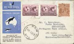 (Australia) Rare first acceptance of mail for Mozambique, Kew to Beira, bs 28/12, via Cairo 22/12 and Ambulancia/Beira-Umtali/27/12, carried on the first regular Imperial Airways/Qantas Australia-England service to Broken Hill, then by La Service de la Navigation Aerienne de Madagascar to Beira, souvenir blue/light grey 'Kangaroo' company cover, franked 1/6d x2 and 2d, canc 'Kew/7 Dec/Vic' cds. Carried from Cairo to Broken Hill on IAW flight ASS 199, This  service carried mail for Africa flown on Imperial Airways first return Brisbane-Singapore extension of the Eastern route. See Wingent p65. Only 463 items were flown from Australia to all points other than London, viz to the Far East, Middle East, the Med, Europe and Africa.