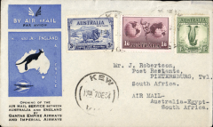 (Australia) First acceptance of mail for South Africa, Kew to Pietersburg, bs 29/12, via Cairo 22/12, carried on the first regular Imperial Airways/Qantas Australia-England service, souvenir blue/light grey 'Kangaroo' company cover, franked 3d, 1/- and 1/6d canc 'Kew/7 Dec/Vic' cds. Carried from Cairo to Pietersburg on IAW flight ASS 199, This  service carried mail for Africa flown on Imperial Airways first return Brisbane-Singapore extension of the Eastern route. See Wingent p65. Only 463 items were flown from Australia to all points other than London, viz to the Far East, Middle East, the Med, Europe and Africa.