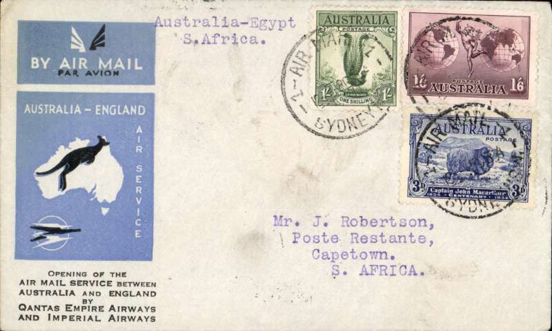(Australia) First acceptance of mail for South Africa,Sydney to Cape Town, bs 28/12, via Cairo 22/12, carried on the first regular Imperial Airways/Qantas Australia-England service, souvenir blue/light grey 'Kangaroo' company cover, franked 3d, 1/- and 1/6d canc 'Air Mail/12 Aug 34/Sydney cds, Carried from Cairo to Cape Town on  IAW flight ASS 199, This  service carried mail for Africa flown on Imperial Airways first return Brisbane-Singapore extension of the Eastern route. See Wingent p65. Only 463 items were flown from Australia to all points other than London, viz to the Far East, Middle East, the Med, Europe and Africa.