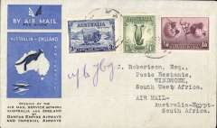 (Australia) First acceptance of mail for South West Africa, Kew to Windhoek, bs 28/12, via Cairo 22/12, carried on the first regular Imperial Airways/Qantas Australia-England service, souvenir blue/light grey 'Kangaroo' company cover, franked 3d, 1/- and 1/6d canc 'Kew/7 Dec/Vic' cds, ms 'up to Jbrg'. Carried from Cairo to Jo'burg on IAW flight ASS 199, This  service carried mail for Africa flown on Imperial Airways first return Brisbane-Singapore extension of the Eastern route. See Wingent p65. Only 463 items were flown from Australia to all points other than London, viz to the Far East, Middle East, the Med, Europe and Africa.