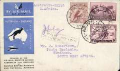 (Australia) First acceptance of mail for South West Africa, Kew to Windhoek, bs 28/12, via Cairo 22/12, carried on the first regular Imperial Airways/Qantas Australia-England service, souvenir blue/light grey 'Kangaroo' company cover, franked 6d brown,  1/6d and 9d (SG 152 Cat £45 used) canc 'Sydney/12 Dec/Air Mail' cds, black framed 'Par Avio/Jusqu'a.(ms) J'burg'. Carried from Cairo to Jo'burg on IAW flight ASS 199, This  service carried mail for Africa flown on Imperial Airways first return Brisbane-Singapore extension of the Eastern route. See Wingent p65. Only 463 items were flown from Australia to all points other than London, viz to the Far East, Middle East, the Med, Europe and Africa. Scarce.