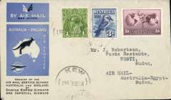 (Australia) First acceptance of mail for Sudan, Kew to Kosti, bs 24/12, via Cairo 22/12, carried on first regular Imperial Airways/Qantas Australia-England service, souvenir blue/light grey 'Kangaroo' company cover, franked  1d, 3d blue and 1/6d, canc 'Kew/7 Dec/Vic' cds. Carried from Cairo to Kosti on IAW flight ASS 199, This  service carried mail for Africa flown on Imperial Airways first return Brisbane-Singapore extension of the Eastern route. See Wingent p65. Only 463 items were flown from Australia to all points other than London, viz to the Far East, Middle East, the Med, Europe and Africa. Scarce.