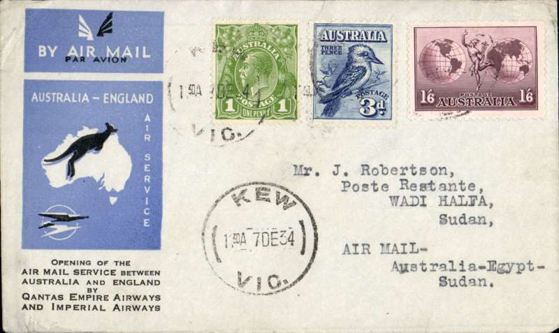 (Australia) First acceptance of mail for Sudan, Kew to Wadi Halfa, bs 23/12, via Cairo 22/12, carried on first regular Imperial Airways/Qantas Australia-England service, souvenir blue/light grey 'Kangaroo' company cover, franked  1d, 3d Kookaburra and 1/6d, canc 'Kew/7 Dec/Vic' cds. Carried from Cairo to Kosti on IAW flight ASS 199, This  service carried mail for Africa flown on Imperial Airways first return Brisbane-Singapore extension of the Eastern route. See Wingent p65. Only 463 items were flown from Australia to all points other than London, viz to the Far East, Middle East, the Med, Europe and Africa. Scarce.