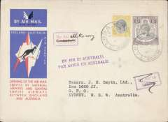 (Tanganyika) Tanga to Australia, bs Sydney 21/12, first acceptance of African 'all the way' airmail for Australia for carriage on the Imperial Airways  African service to Cairo, to connect with the first extension of the IA/ITCA/Qantas service from Singapore to Brisbane, official 'Kangaroo' cover franked 2/- and 10c canc Tanga cds. Boxed instruction hs's 'By Air (ms All the Way), 'By Air to Athens (crossed out ) and two line 'By Air in Australia', The Sydney 21/12 arrival confirms air all the way.Scarce.