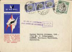 (Tanganyika) Mbeya to Australia, bs Darwin 19/12, first acceptance of African 'all the way' airmail for Australia for carriage on the Imperial Airways  African service to Cairo, to connect with the first extension of the IA/ITCA/Qantas service from Singapore to Brisbane, official 'Kangaroo' cover franked 1/- and 90c canc Mbeya cds, boxed instructional hs's 'By Air to (ms Australia) and 'By Air in Australia'. The Darwin 19/12 bs confirms air all the way. Scarce.