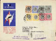 (Tanganyika) Dodoma to Australia, bs Adelaide 23/12, first acceptance of African 'all the way' airmail for Australia for carriage on the Imperial Airways  African service to Cairo, to connect with the first extension of the IA/ITCA/Qantas service from Singapore to Brisbane, official 'Kangaroo' cover franked  200c canc Dodoma cds, boxed instructional hs's  'By Air to (ms Via Singapore) and two line 'By Air in Australia'.but Adelaide 23/12 arrival confirms air all the way. The Adelaide 23/12 bs confirms air all the way. Scarce.
