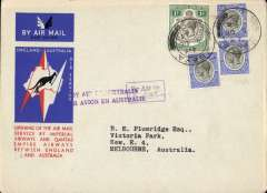 (Tanganyika) Mbeya to Australia, bs Melbourne 22/12, first acceptance of African 'all the way' airmail for Australia for carriage on the Imperial Airways  African service to Cairo, to connect with the first extension of the IA/ITCA/Qantas service from Singapore to Brisbane, official 'Kangaroo' cover franked 1/- and 90c canc Mbeya cds, boxed instruction hs's 'By Air to (ms Australia) and 'By Air in Australia'. The Melbourne 22/12 bs confirms air all the way.Scarce.