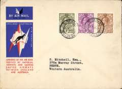 (Swaziland) Mbabane to Australia, bs Perth 21/12, first acceptance of African 'all the way' airmail for Australia for carriage on the Imperial Airways  African service to Cairo, to connect with the first extension of the IIA/ITCA/Qantas service from Singapore to Brisbane, official 'Kangaroo' cover franked 1/-, 6d and 2d, canc Mbabane cds. Scarce.