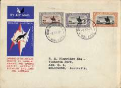 (Sudan) Malakal to Australia, bs Melbourne 22/12, first acceptance of African 'all the way' airmail for Australia for carriage on the Imperial Airways  African service to Cairo, to connect with the first extension of the IA/ITCA/Qantas service from Singapore to Brisbane, official 'Kangaroo' cover franked  10P canc Malakal cds. Scarce.