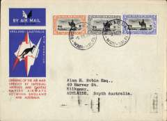 (Sudan) Wadi Halfa to Australia, bs Adelaide 23/12, first acceptance of African 'all the way' airmail for Australia for carriage on the Imperial Airways  African service to Cairo, 10/12 transt cds, to connect with the first extension of the IA/ITCA/Qantas service from Singapore to Brisbane, official 'Kangaroo' cover franked  10P canc Malakal cds. Scarce.