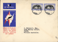 (Sudan) Juba to Australia, bs Perth 21/12, first acceptance of African 'all the way' airmail for Australia for carriage on the Imperial Airways  African service to Cairo, to connect with the first extension of the IA/ITCA/Qantas service from Singapore to Brisbane, official 'Kangaroo' cover franked 10P canc Juba cds. Scarce.