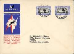 (Sudan) Khartoum to Australia, bs Perth 21/12, first acceptance of African 'all the way' airmail for Australia for carriage on the Imperial Airways African service to Cairo, to connect with the first extension of the IA/ITCA/Qantas service from Singapore to Brisbane, official 'Kangaroo' cover franked 10P canc Khartoum cds. Scarce.