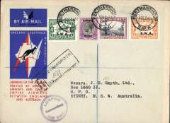 (South West Africa) Keetmanshoop to Australia, bs Sydney 21/12 via Darwin 19/12, first acceptance of African 'all the way' airmail for Australia for carriage on the Imperial Airways  African service to Cairo, to connect with the first extension of the IA/ITCA/Qantas service from Singapore to Brisbane, registered (hs) official 'Kangaroo' cover franked 2/2d (SWA opt's) canc Keetmanshoop cds. also black Keetmanshoop Lugpos/Air Mail hs. Scarce.