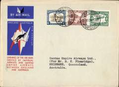 (South Africa) Cape Town to Australia, bs Brisbane 21/12, first acceptance of African 'all the way' airmail for Australia for carriage on the Imperial Airways African service to Cairo, to connect with the first extension of the IA/ITCA/Qantas service from Singapore to Brisbane, official 'Kangaroo' cover franked 1/8d canc Capetown cds.