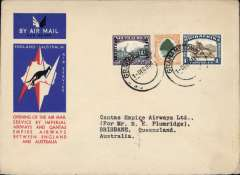(South Africa) Grahamstown to Australia, bs Brisbane 21/12, first acceptance of African 'all the way' airmail for Australia for carriage on the Imperial Airways African service to Cairo, to connect with the first extension of the IA/ITCA/Qantas service from Singapore to Brisbane, official 'Kangaroo' cover franked 1/8d canc Grahamstown cds.