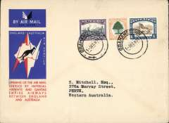 (South Africa) Grahamstown to Australia, bs Perth 21/12, first acceptance of African 'all the way' airmail for Australia for carriage on the Imperial Airways African service to Cairo, to connect with the first extension of the IA/ITCA/Qantas service from Singapore to Brisbane, official 'Kangaroo' cover franked 1/8d canc Grahamstown cds.