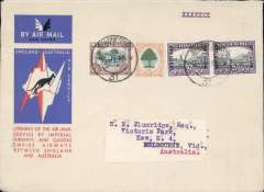 (South Africa) Johannesburg to Australia, bs Melbourne 22/12, first acceptance of African 'all the way' airmail for Australia for carriage on the Imperial Airways African service to Cairo, to connect with the first extension of the IA/ITCA/Qantas service from Singapore to Brisbane, official 'Kangaroo' cover franked 2/8d canc Johannesburg cds.