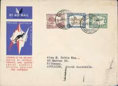 (South Africa) CapeTown to Australia, bs Adelaide 23/12, first acceptance of African 'all the way' airmail for Australia for carriage on the Imperial Airways African service to Cairo, to connect with the first extension of the IA/ITCA/Qantas service from Singapore to Brisbane, official 'Kangaroo' cover franked 1/8d canc Cape Town cds.