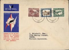 (South Africa) Johannesburg to Australia, bs Perth 21/12, first acceptance of African 'all the way' airmail for Australia for carriage on the Imperial Airways African service to Cairo, to connect with the first extension of the IA/ITCA/Qantas service from Singapore to Brisbane, official 'Kangaroo' cover franked 1/8d canc Johannesburg cds.