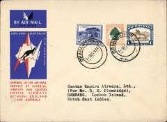 (South Africa) Grahamstown to Netherlands East Indies, bs Rambang (Laboeanhadji ) 24/12, first acceptance of African 'all the way' airmail for Netherlands East Indies for carriage on the Imperial Airways African service to Cairo, to connect with the first extension of the IA/ITCA/Qantas service from Singapore to Brisbane, official 'Kangaroo' cover franked 1/9d canc Grahamstown cds. Scarce.