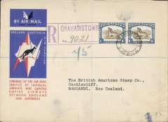 (South Africa) Grahamstown to Wanganui, New Zealand, first acceptance of African 'all the way' airmail for Australia for carriage on the Imperial Airways African service to Cairo, to connect with the first extension of the IA/ITCA/Qantas service from Singapore to Brisbane, registered (hs) official 'Kangaroo' cover franked 2/- canc Grahamstown cds. Scarce. Barely visible closed 1cm non invasive lower edge tear - see scan.