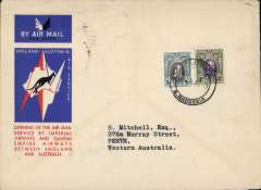 (Southern Rhodesia) Salisbury to Australia, bs Perth 21/12, first acceptance of African 'all the way' airmail for Australia for carriage on the Imperial Airways African service to Cairo, 10/12 transit cds, to connect with the first extension of the IA/ITCA/Qantas service from Singapore to Brisbane, official 'Kangaroo' cover franked 1/8d canc Salisbury cds.