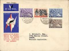 (Nyasaland) Limbe to Australia, bs Perth 21/12, first acceptance of African 'all the way' airmail for Australia for carriage on the Imperial Airways African service to Cairo, 10/12 transit cds, to connect with the first extension of the IA/ITCA/Qantas service from Singapore to Brisbane, official 'Kangaroo' cover franked 1/10d canc Limbe cds. Scarce.
