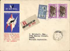 (Madagascar) Tananarive to Australia, bs Perth 4/1/35, via Darwin 1/1/35, first acceptance of Madagascar 'all the way' airmail for Australia for carriage on the Imperial Airways African service to Cairo, 14/12 transit cds, intended to connect with the first extension of the IA/ITCA/Qantas service from Singapore to Brisbane, official 'Kangaroo' cover franked 1/8d canc Grahamstown cds. The Cairo 14/12 transit confirms this cover was in the first Africa-Australia dispatch. The 1/1/35 Darwin arrival confirms a delay at Cairo due to the large quantity of mail dispatched from from GB, causing IAW to run a duplicate service as leat as far as Singapore. See Wingent p132. A rare item and a nice one for the exhibit..