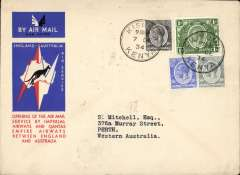 (Kenya) Kisumu to Australia, bs Perth 21/12, first acceptance of African 'all the way' airmail for Australia for carriage on the Imperial Airways  African service to Cairo 10/12 transit cds, to connect with the first extension of the IA/ITCA/Qantas service from Singapore to Brisbane, official 'Kangaroo' cover franked 1/- and 90c canc Kisumu cds. Scarce.