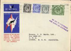 (Kenya) Nairobi to Australia, bs Sydney 21/12, first acceptance of African 'all the way' airmail for Australia for carriage on the Imperial Airways  African service to Cairo, to connect with the first extension of the IA/ITCA/Qantas service from Singapore to Brisbane, official 'Kangaroo' cover franked 1/- and  90c canc Nairobi machine postmark. Two line 'By Air in Australia' - however the Sydney 21/12 arrival confirms air all the way.Scarce.