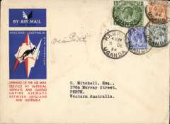 (Uganda) Kampala to Australia, bs Melbourne 22/12, first acceptance of African 'all the way' airmail for Australia for carriage on the Imperial Airways African service to Cairo 10/12 transit cds, to connect with the first extension of the IA/ITCA/Qantas service from Singapore to Brisbane, official 'Kangaroo' cover franked 2/- canc Kampala cds. Scarce.