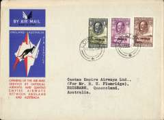 (Bechuanaland) Lobatsi to Australia, bs Brisbane 21/12, first acceptance of African 'all the way' airmail for Australia for carriage on the Imperial Airways  African service to Cairo, to connect with the first extension of the IIA/ITCA/Qantas service from Singapore to Brisbane, official 'Kangaroo' cover franked 1/-, 6d and 2d, canc Lobatsi 1 Dec 34 cds. Scarce. Tiny closed top edge nick - barely visible, see scan