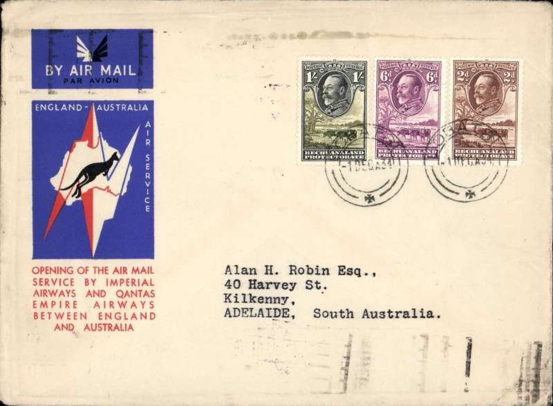 (Bechuanaland) Lobatsi to Australia, bs Adelaide 23/12, first acceptance of African 'all the way' airmail for Australia for carriage on the Imperial Airways  African service to Cairo, to connect with the first extension of the IIA/ITCA/Qantas service from Singapore to Brisbane, official 'Kangaroo' cover franked 1/-, 6d and 2d, canc Lobatsi 1 Dec 34 cds. Scarce.