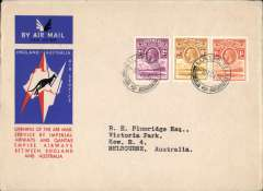 (Basutoland) Maseru to Australia, bs Melbourne 22/12, first acceptance of African 'all the way' airmail for Australia for carriage on the Imperial Airways  African service to Cairo, to connect with the first extension of the IIA/ITCA/Qantas service from Singapore to Brisbane, official 'Kangaroo' cover franked 1/-, 6d and 2d, canc Maseru 3 Dec 34 cds. Scarce.
