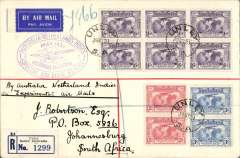 (Australia) KLM, first acceptance of mail for South Africa, Unley to Johannesburg, via Sydney 21/5, for carriage on the KLM Special Melbourne to Batavia Air Mail Flight, then onward transmission to South Africa, Robertson registered (label) cover (19x12cm), high 3/10d franking Kingsford Smith 2d x2, 3d x2 and 6d x6 (stamps cat £90 used), special oval Melbourne to Batavia violet cachet,  A scarce acceptance.
