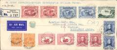(Australia) First acceptance of mail for South Africa, Perth to Windhoek, b/s R.L.S. Windhoek (converted German type cancellator) date unclear, for carriage on the return of the first Imperial Airways experimental flight Melbourne to London, then onward transmission to South Africa, registered (label) cover (22x9cm) franked  2/6d inc 1931 Kingsford Smith 2d x2 and 3d x2, and 6d x2 and 1928 3d air, fine strike large violet official flight cachet verso, Qantas/Imperial Airways. A scarce acceptance.