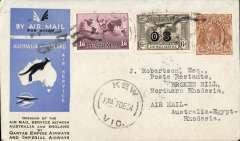 (Australia) First acceptance of mail for Northern Rhodesia, Kew to Broken Hill, bs 26/12, via Cairo 22/12, carried on first regular Imperial Airways/Qantas Australia-England service, souvenir blue/light grey 'Kangaroo' company cover, franked 5d, 1/6d 1931 6d air 'OS' opt, canc 'Kew/7 Dec/Vic' cds. Carried from Cairo to Broken Hill on IAW flight ASS 199, This  service carried mail for Africa flown on Imperial Airways first return Brisbane-Singapore extension of the Eastern route. See Wingent p65. Only 463 items were flown from Australia to all points other than London, viz to the Far East, Middle East, the Med, Europe and Africa. Super routng and scarce TPO. A nice one for the exhibit.