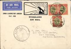 """(Nyasaland) Special RAF Sqn. 6 flight, Limbe to Fort Jamieson, b/s 6/6, via Nyasaland TPO 4/6, special B&W souvenir cover with leopard printed """"Zomba-Lilongwe-Fort Jamieson RAF, 1933"""" franked 1/- (correct rate), see illus ref 33.07 Newall).  nice item"""