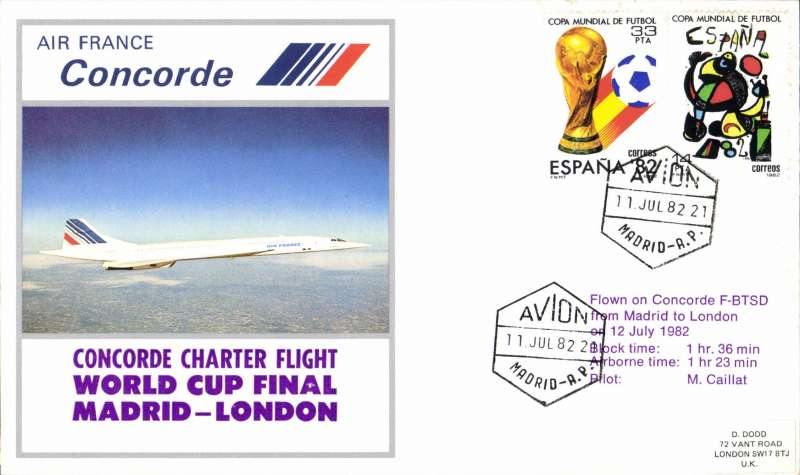(Concorde) Air France Concorde Charter World Cup Final, Madrid-London, souvenir cover.