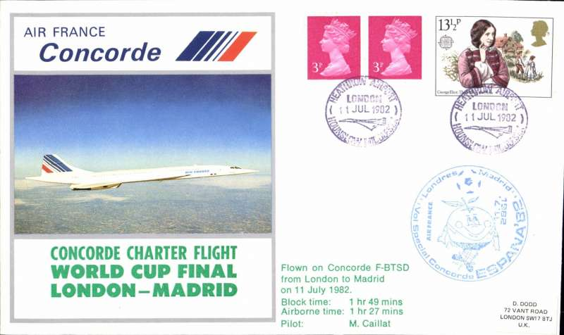 (Concorde) Air France Concorde, special World Cup Final charter flight, London-Madrid, bs Madrid 11/7.