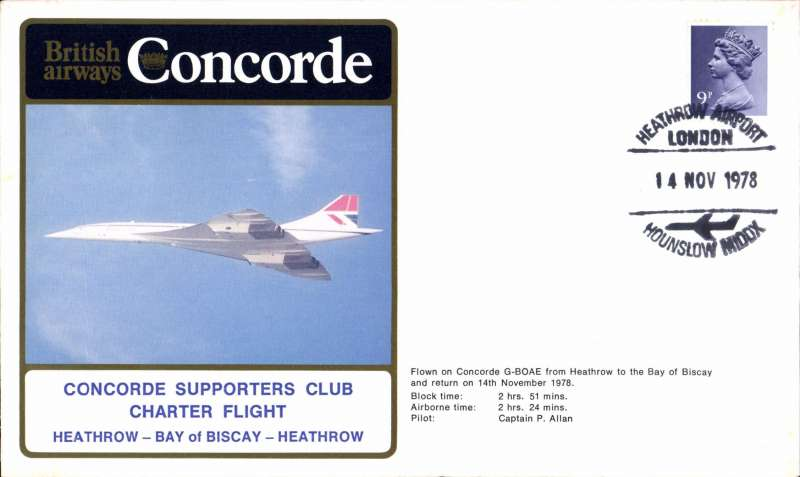 (Concorde) British Airways Concorde Supporters Club Charter Flight, Heathrow-Bay of  Biscay-Heathrow, souvenir cover.