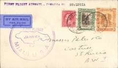 (Jamaica) Pan Am FAM 5 Direct Flight Jamaica to St Lucia, bs 16/12, plain cover franked 1/5d, large violet circular F/F 'Jamaica-Miami USA' cachet, green on light blue etiquette rated scarce by Mair. Carried by Consolidated C16 flying boat.