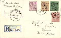 """(Montserrat) The only recorded mail from Montserrat, Montserrat to British Guiana, bs 5 Mar 1931 registered (label) cover franked KGV 1/10d, canc Montserrat cds, also tying violet framed """"First Air Mail/Montserrat"""" cachet. Arrangements were made by NYRBA for a special flight from Antigua to Montserrat and return. Mail prepared at Plymouth, Montserrat was postmarked and cacheted, but the flight had to be cancelled due to bad weather. In February 1931 HMS """"Dorsetshire"""" called at Plymouth and left behind a seaplane to follow on to Bassetiere, St Kitts. The flight was made on 23 Feb 1931. The mail for British Guiana was then forwarded by a Pan Am plane. See Locke JM, Air Mails of the West Indies, 1962. Francis Field authentication hs verso."""