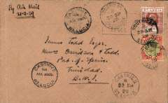 (St Lucia) St Lucia to Trinidad, bs Port of Spain 22/9, plain cover franked 1/4d, canc Castries cds, ms 'By Air Mail/21/9/29'