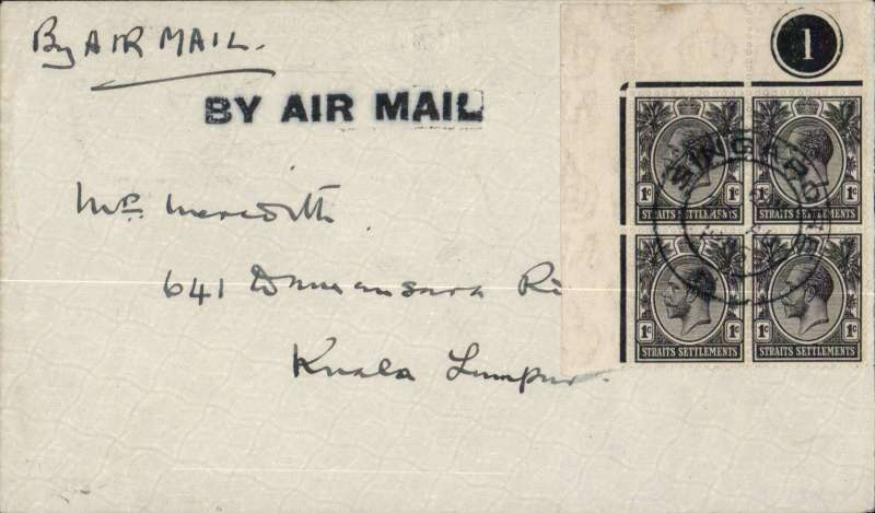 "(Singapore) Air Survey Co Rangoon, first airmail, Singapore to Kuala Lumpur, bs 2pm 23/8, arrived Port Swettenham 11.15am, then taken by train to Kuala Lumpur arriving 2.30pm, plain cover correctly rated 4c, special black straight line ""By Air Mail"" cachet and ms ""By Air Mail"". Carried by Neville Vincent, who arrived in Singapore immediately following the completion of his government. sponsored aerial survey in Sarawak. The GPO in Singapore took advantage of his arrival to hastily arrange a first dispatch by air of mail to Kuala Lumpur (via Port Swettenham). As a result the flight had the minimum of publicity resulting in only a very small mail being carried.  A scarce and historical specimen in fine condition. An explanatory 500 word article accompanies this item."